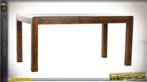 Table en bois massif d'acacia finition brou de noix esprit chalet, 160cm