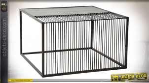 TABLE BASSE MÉTAL MARBRE 66X66X39 BLANC