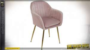 CHAISE POLYESTER MÉTAL 56X57X85 VELOURS ROSE