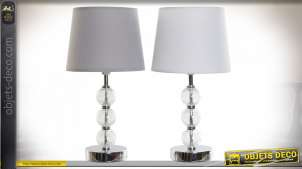 LAMPE DE TABLE VERRE MÉTAL 20X20X38 2 MOD.
