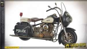 VEHICULE DÉCORATION MÉTAL 34,5X11X21 MOTO POLICE