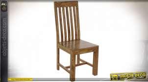 Chaise en bois massif d'acacia finition naturelle de style chalet, 104cm