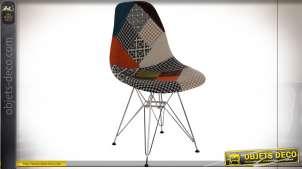 Chaise de style contemporain finition polyester patchwork mutlicolore, 82cm