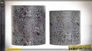CORBEILLE PAPIER SET 2 TOILE BOIS 32X23X35 ANIMAL