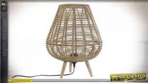 LAMPE DE TABLE BAMBOU 33X33X41 FEUILLES NATUREL