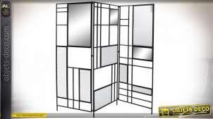 Paravent à trois pans en verre ondulé et miroir de style moderne, finition noire, 180cm