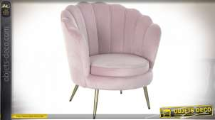FAUTEUIL POLYESTER MÉTAL 80X46X84 COQUILLAGE ROSE