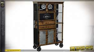 Armoire de style industriel en bois et métal finition noire et brun foncé sur roulettes esprit meuble de hangar de la Royal Air Force, 153cm