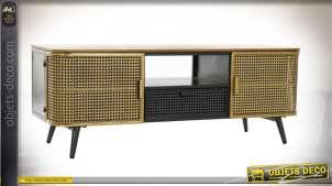 Meuble TV en bois et métal finition tricolore de style éclectique, 118cm