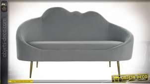 Canapé nuage deux places en polyester effet velours finition grise et dorée style cosy moderne, 155cm