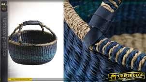 Panier rond en jonc de mer teinté bleu, modèle dit Sahel avec grandes anses et poignée effet peau, Ø39cm