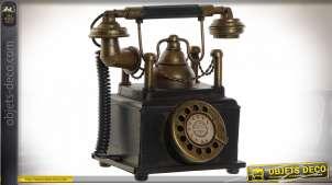 Décoration à poser de vieux téléphone à cadran en métal noir et doré style vintage, 20cm