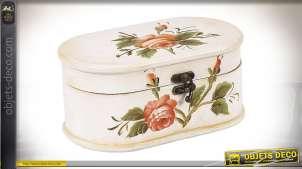 Coffret en bois pour maquillage ou bijoux, finition beige ancien et motif de fleur vintage, 22cm