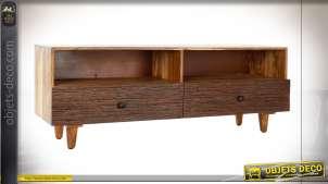 Meuble TV en bois d'acacia finition brou de noix et brun style chalet, 140cm