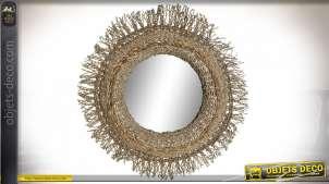 Miroir circulaire style exotique, encadrement en jonc de mer tressé finition naturelle, 80cm