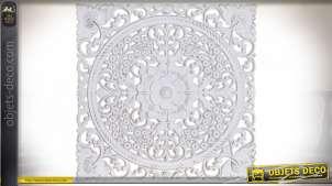 Panneau de décoration en bois sculpté de motifs floraux, patine blanche style romantique, 40cm