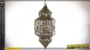 Suspension luminaire esprit lanterne oriental avec pendeloques en acrylique, métal finition laiton, 110cm