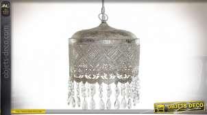 Suspension luminaire à pampilles en métal percé de motifs géométriques, finition argentée vieillie style Boho, 80cm