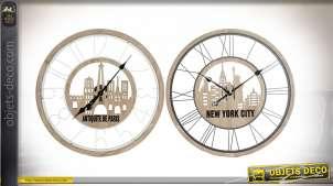 Série de deux horloges murales Parisienne et New-Yorkaise style urbain, 60cm