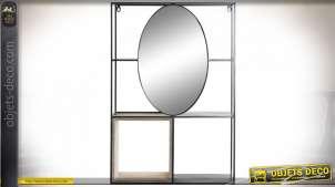 Étagère miroir murale rectangulaire moderne en métal noir, 75cm