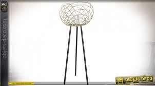 Bougeoir sur trépied finition dorée et noire de style moderne chic, 65.5cm