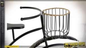 Support pots de fleurs en forme de vélo Grand-Bi Peugeot, métal et rotin finition naturelle et noire style rétro, 74cm