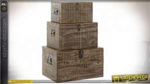 Série de trois coffres de rangement en bois finition brun foncé esprit rustique, 59cm