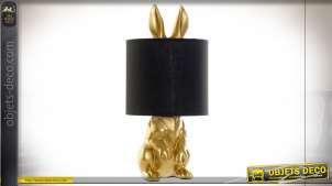 LAMPE DE TABLE RÉSINE COTON 20X20X43 LAPIN DORÉ