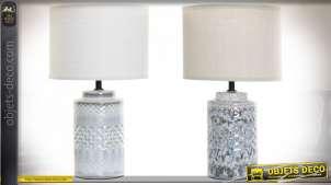 Série de deux lampes de chevet en porcelaine finition grise et blanche de style bord de mer, 40cm