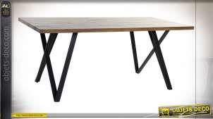Table de style design moderne en bois et métal finition noire et brun foncé, 180cm