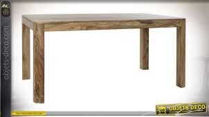 Table en bois de sheesham finition naturelle style chalet, 160cm
