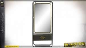 Miroir mural psyché, tiroir et tablette de rangement en métal finition noire et dorée style industriel, 90cm