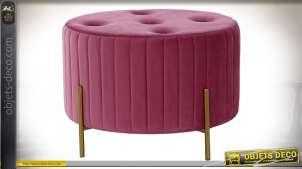Repose-pieds capitonné fintion rose bonbon et doré de style cosy moderne, 62cm