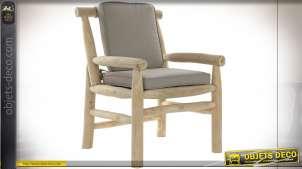 Fauteuil en branches de bois de teck finition naturelle, assise et dossier gris style bord de mer, 92cm