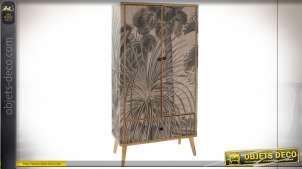 Armoire en bois de style exotique, façades en bambou aux motifs de végétation tropical, 161cm