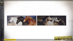 TABLEAU TOILE PIN 90X2,3X30 CHEVAUX 2 MOD.