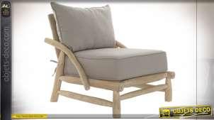 Fauteuil en bois de teck effet bois flotté, coussin d'assise et dossier gris style bord de mer, 82cm
