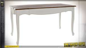 Table en bois de paulownia finition blanche et brun foncé, pieds galbés esprit cottage, 160cm