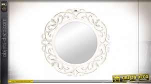 Miroir mural rond en bois sculpté, patine blanche vieillie style shabby chic, 60cm