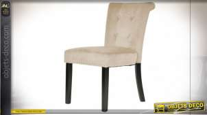 Chaise de style classique finition velours beige, clous de tapissier et anneau argentés, 59cm