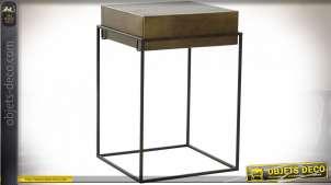 TABLE AUXILIAIRE MÉTAL 40,5X40,5X60,5 VIEILLI DORÉ