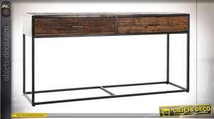 Console à deux grands tiroirs en bois de manguier finition brou de noix style chalet, 150cm