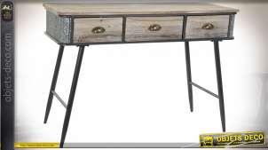 Console à trois tiroirs de style industriel en bois de sapin finition brun clair, métal effet zinc, 118cm