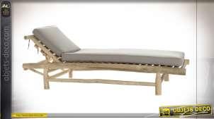 Chaise longue grise de style bord de mer en bois de teck esprit bois flotté finition naturelle, 209cm
