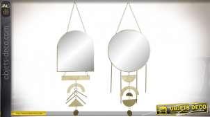 Miroir mural en métal finition dorée style boho chic, 52cm