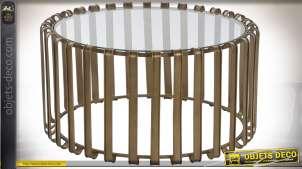 Table basse circulaire de style moderne en verre transparent et métal finition cuivrée, 75cm