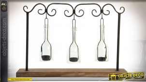 Porte-bougies en bouteilles transparentes suspendues finition brun foncé et noir esprit récup, 55cm