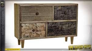 Coffret à bijoux quatre tiroirs en bois sur pieds style rustique finition tricolore, 30cm
