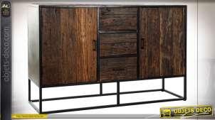Meuble de salle à manger en bois finition brou de noix effet rustique de style alpin, 140cm
