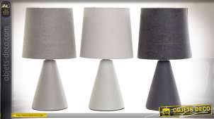 Série de trois lampes à poser tricolore en grès et abat-jour en coton de style design moderne, 25cm